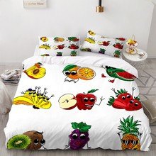 2021 thicken single double foldable mattress cute cartoon dorm home tatami mat floor pad student mattresses king queen size Cute Fruit Home Textile Bedding Sets Summer Theme Duvet Cover Set 2/3 Piece Single Double Twin Full Queen King Size Bedspread