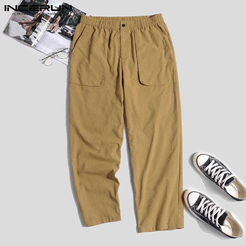 Cotton Linen Men Pants Joggers Retro Streetwear Hip-hop Elastic Waist Trousers Men Pockets Loose Solid Casual Pants 2019 INCERUN