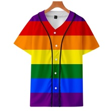 Sportswear Baseball-Shirt Men LGBT Thin Digital-Printing Rainbow-Color 3D Section And