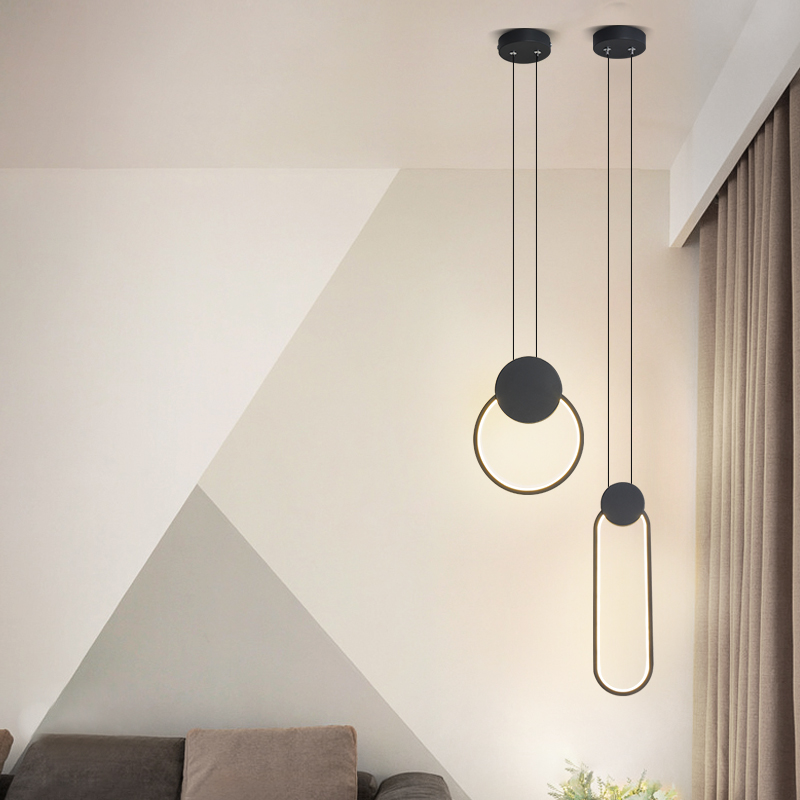 Modern LED pendant lights minimalist restaurant  coffee bar living room bedside pendant lamp background wall long line hang lamp