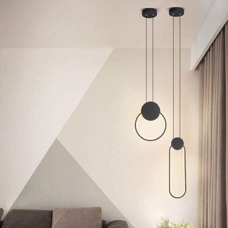 Modern LED pendant lights minimalist restaurant  coffee bar living room bedside pendant lamp background wall long line hang lamp