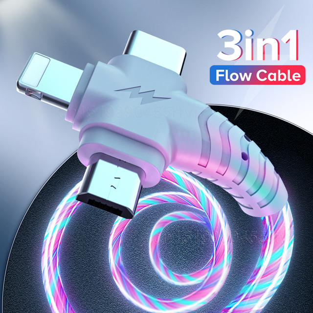 3in1 Flow Luminous Lighting usb cable for iPhone 12 11 Pro 3 in 1 2in1 LED Micro USB Type C 8Pin charger Wire for Huawei Xiaomi 2