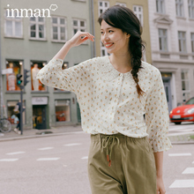 INMAN 2020 Spring New Arrival Literary Pure and Fresh Petal Lapel Lace Sleeve Single Breasted Long Sleeve Blouse