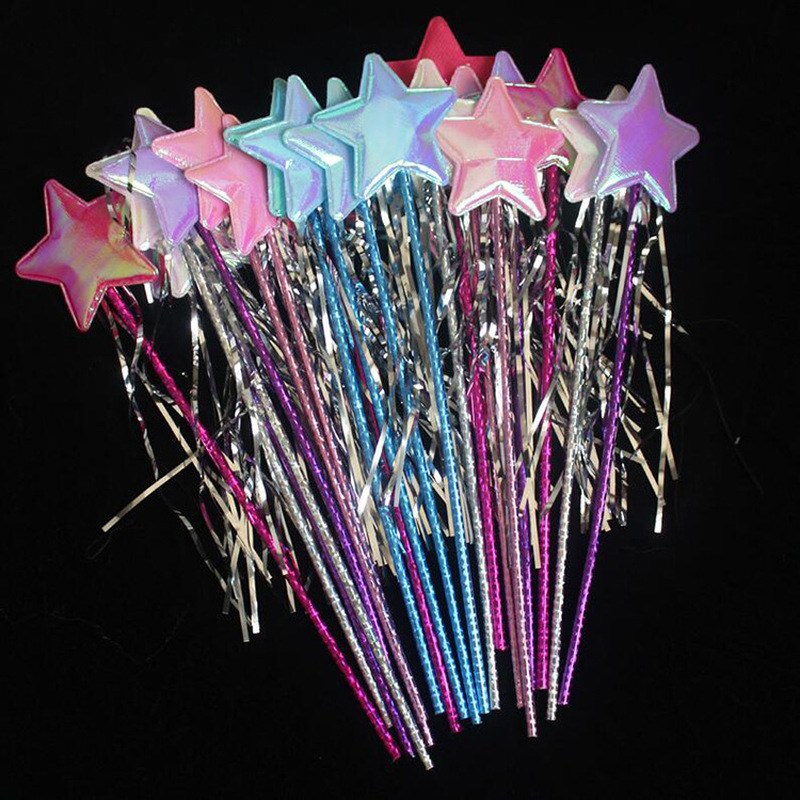 VCOSTORE 5 PCS Star Magic Wand Angel Fairy Wands for Birthday Wedding Halloween Christmas Party (Multicolor