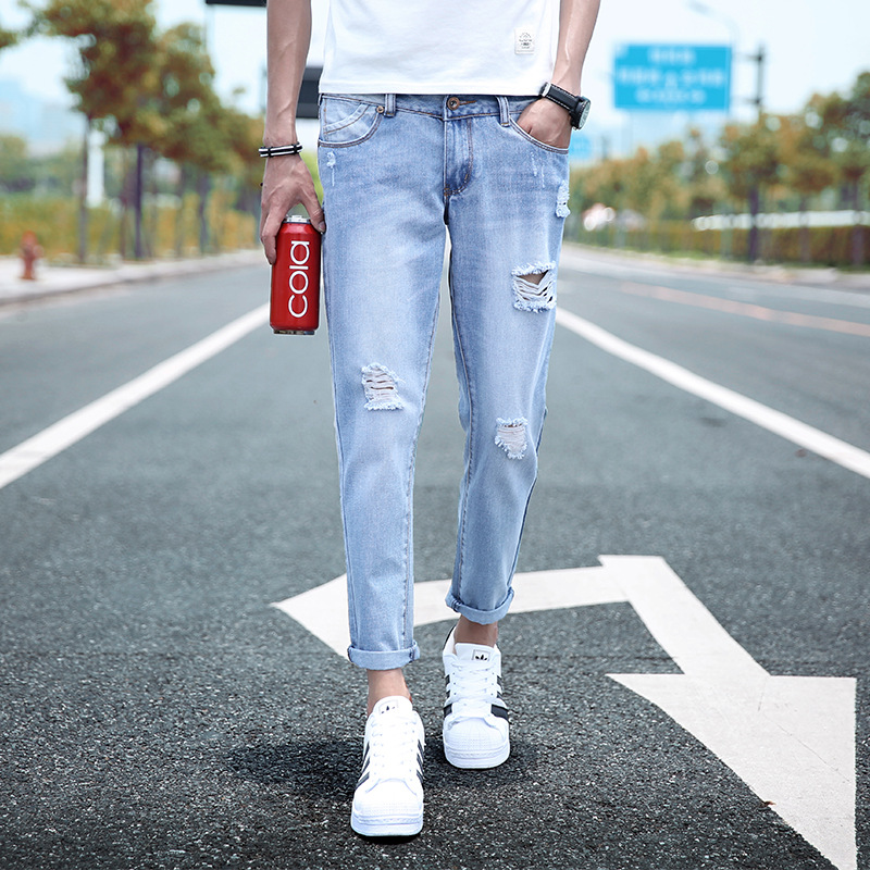 Capri Jeans Men's Skinny Slim Fit Korean-style Trend 2017 Light Blue With Holes Scraping Rotten Students Pants Men's 9 Pants