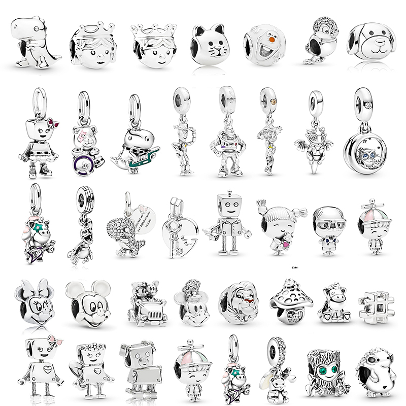 2Pcs/Lot Lovely Dinosaur Hedgehog Toy Story Mickey Charms Beads fit Pandora Bracelets Necklace For Women DIY Jewelry Accessories(China)