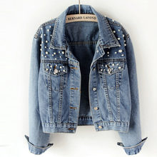 Pearl Beading Short Denim Jackets Women Wash Long Sleeve Vintage Casual Jean Jacket Denim Coat Women Jeans Coat Plus Size 5xl(China)