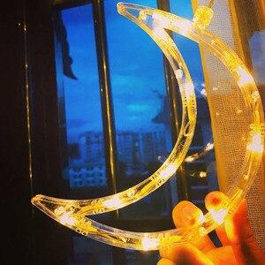 Image 3 - 220V Spina di UE Luna Star LED Tenda Luci Di Natale Fata Ghirlande Outdoor LED Scintillio Luci Della Stringa di Vacanze Decorazione di Festival