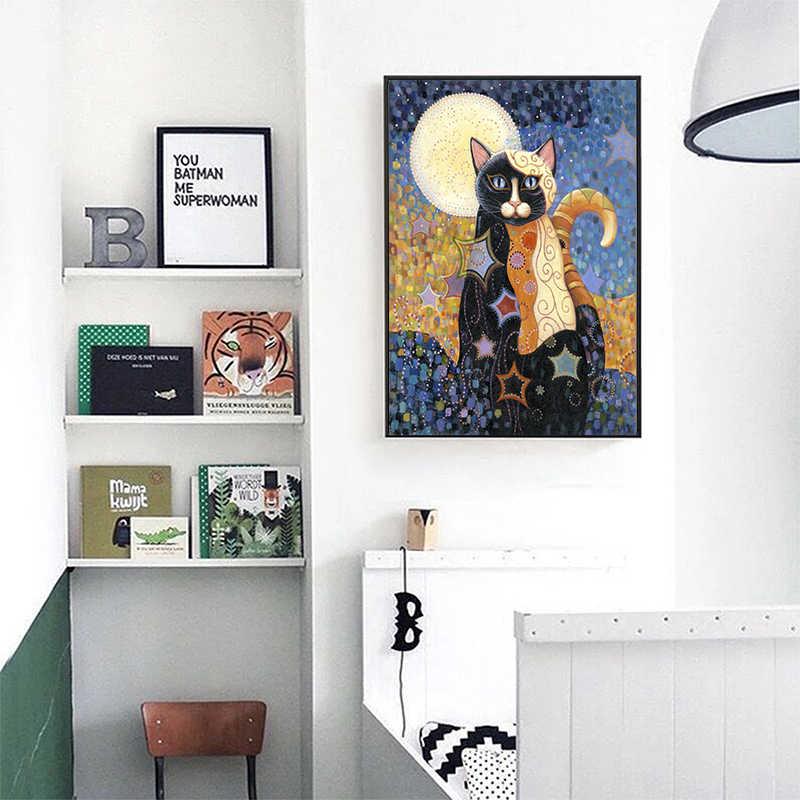 アートグスタフ · クリムトの油絵動物猫ポスターホームデコレーションでクリムト絵画リビングルームのためのキャンバス枠なし