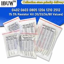 200PCS 660PCS 720PCS 4000PCS 0402 0603 0805 1206 1210 2512 SMD Resistor Kit igmopnrq Assorted Kit 10K 100K 1K 1R 100R 220R 1% 5%