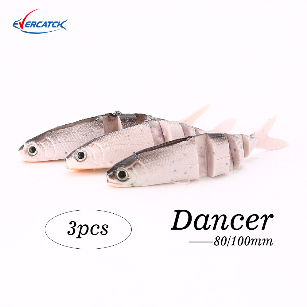 Evercatch Dancer 80/100mm Silicone Swimbait Rubber Soft Bait Wobblers Fishing Lure For Bass Pike Perch