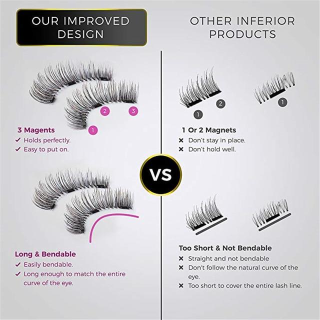 2 pair of 3D magnetic eyelashes handmade Mink eyelashes eye makeup extended false eyelashes repeated use magnetic fake eyelashes 2