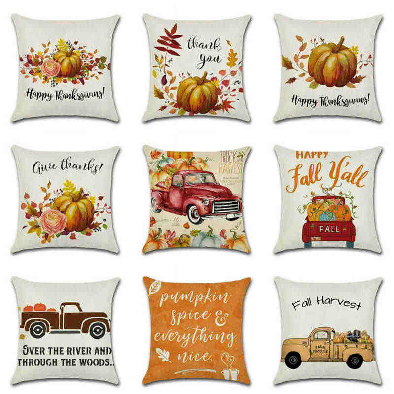 Pillow Fall Rustic Case Cushion Cover Decor Home Sofa Thanksgiving Art Autumn