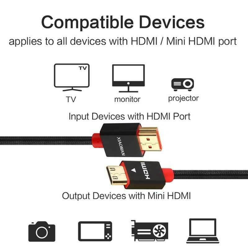 Wysokiej prędkości Mini kabel HDMI do HDMI wsparcie 4K Ultra HD 3D 1080p dla Tablet Notebook kamera cyfrowa kamera konsola do gier