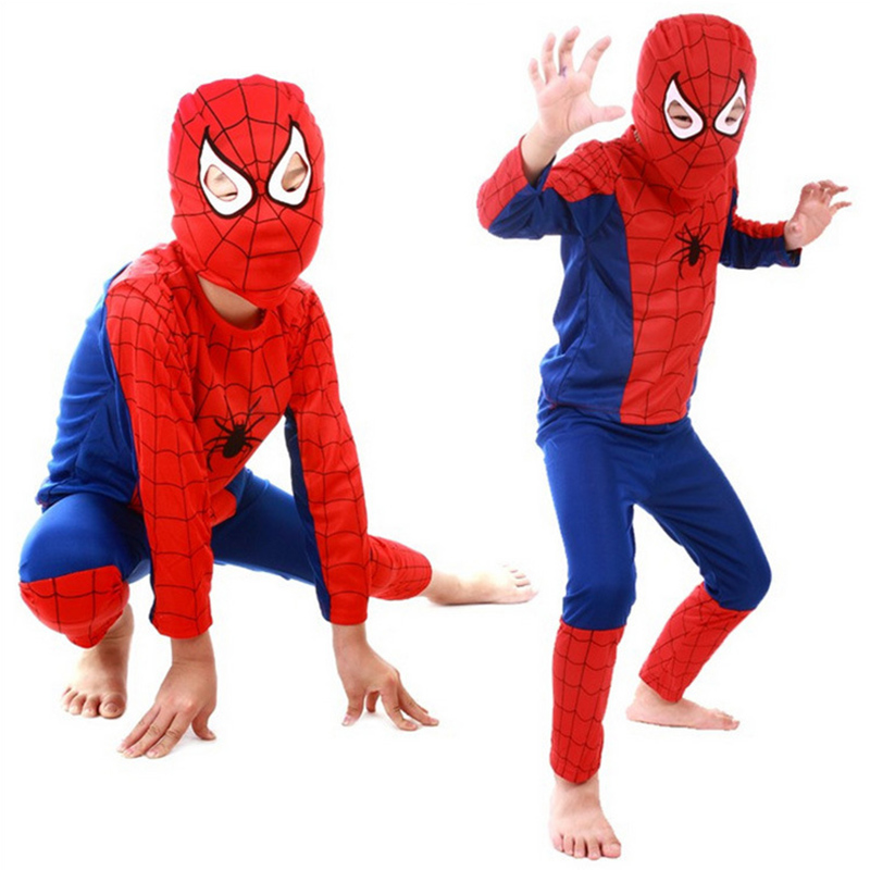 Children  Superhero Costume Red Spiderman Costume Black Spiderman Batman Superman Halloween Costumes Boys Birthday Party