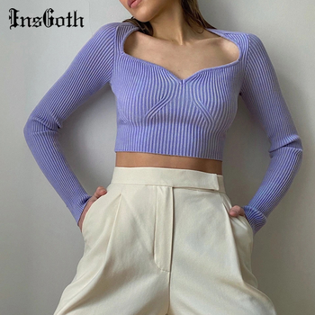 InsGoth Casual Bodycon Long Sleeve Crop Tops Solid Baisc Sexy Knitted Clothing Fashion Streetwear Female Autumn New 2020