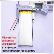 2 шт. [SD] 3,7 в, 4500 мАч, [7050100] полимерный литий-ионный/литий-ионный аккумулятор для игрушек, банка питания, gps, mp3, mp4, сотового телефона, динамика