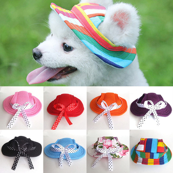 Śliczny piesek kot czapka oddychająca lato Sunhat tkaniny siatki Dot płótno kapelusz dla małych średnich psów koty księżniczka czapki produkty dla zwierzaka domowego tanie i dobre opinie CN (pochodzenie) Other Drukuj