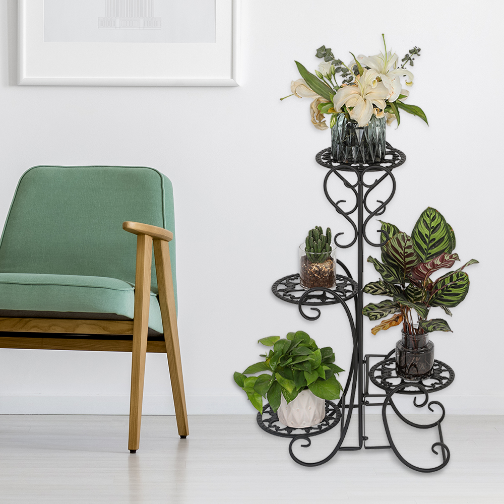 4 горшечных закругленных металлических полки для цветов, подставка для горшка, украшение для внутреннего и наружного сада, черная садовая