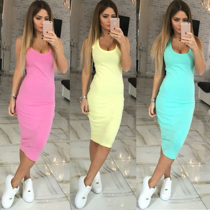 Fashion Casual Round Neck Sleeveless Solid Sexy Slim Dress Straight Summer Women Dress 2020 Beach Long Dress