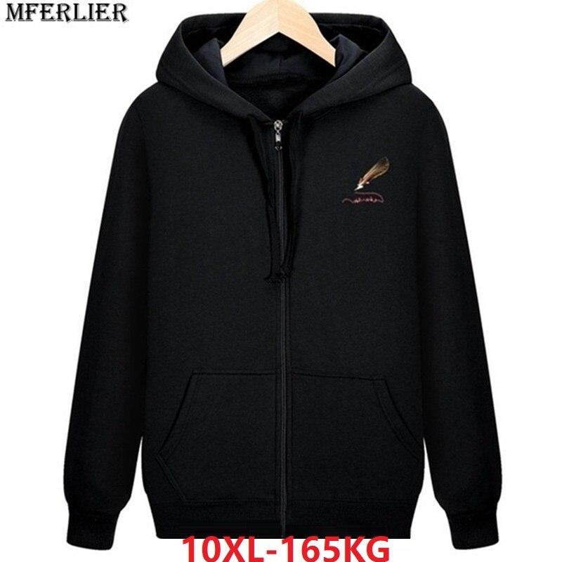 Spring Men Fleece Warm Hoodies Hooded Sweatshirts Sportwear Zipper 8XL Plus Size Big 9XL 10XL Cotton Sports Oversize Coat 150KG