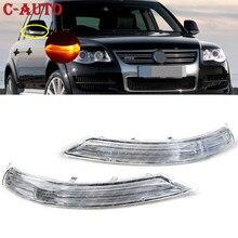 Боковые зеркала автомобиля зеркало заднего вида светодиодный поворотник светильник янтарный кулон лампа левый/правый для VW Touareg 2007 2008 2009-2011...