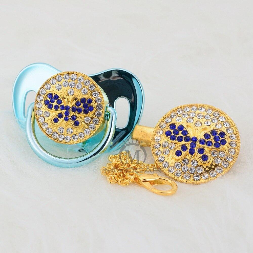 MIYOCAR Bling borboleta azul chupeta e clipe