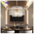 Lámpara de araña de cristal FUMAT K9, lámpara colgante moderna, barra de cristal de forma redonda LED, lámpara decorativa para sala de estar