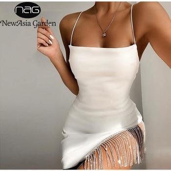 NewAsia 2 Layers Diamond Party Dress Women 2020 Summer Backless Tassel Hem Valentine Sexy Club Dress Elegant White Dress Mini