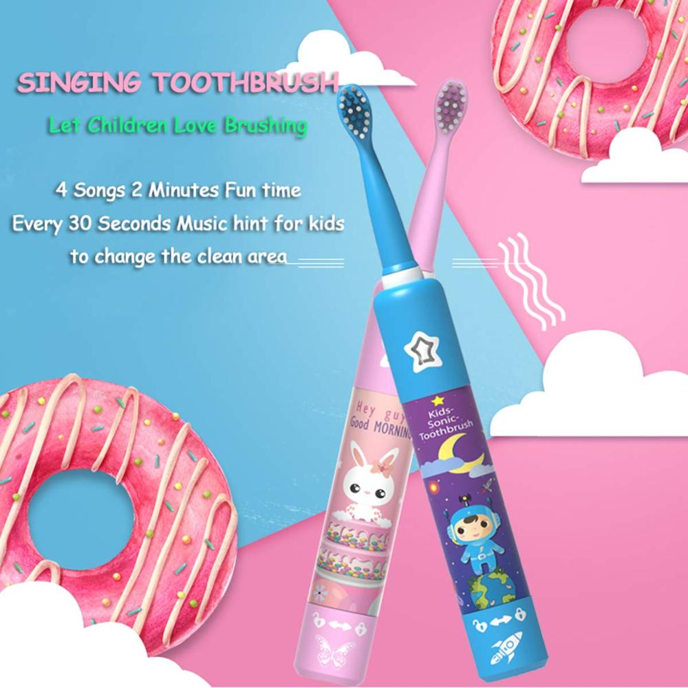 Electric Toothbrush for Children Dental Cleaning Brush Kids Ultrasonic USB Rechargeable Child Cartoon Pattern Waterproof Travel