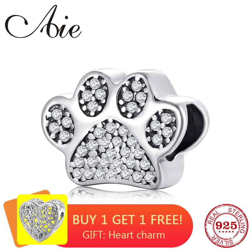Fashion Cute dog Paw Prints 925 Sterling Silver Sparkling Zircon fine Bead Fit Original Pandora Charm Bracelet Jewelry making(China)