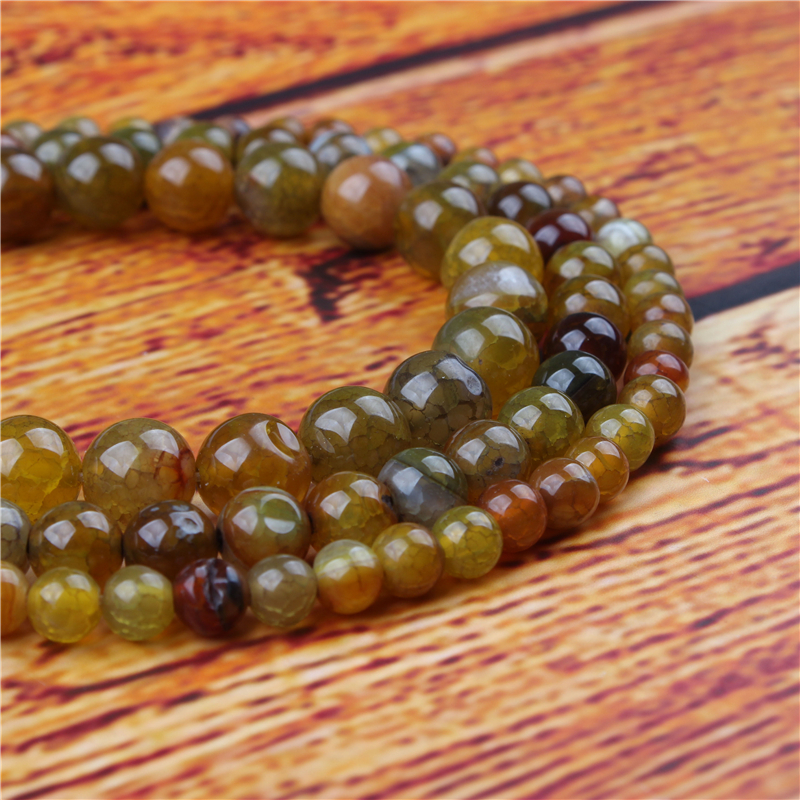 Yellow Popcorn Agate Natural Stone Bead Round Loose Spaced Beads 15 Inch Strand 4/6/8/10/12mm For Jewelry Making DIY Bracelet