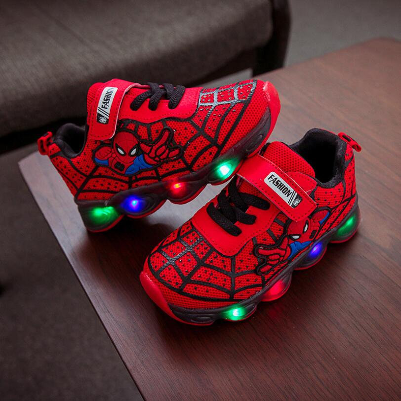 New Spider man cartoon baby casual shoes high quality LED lighted classic baby girls boys shoes hot sales baby sneakers tennis