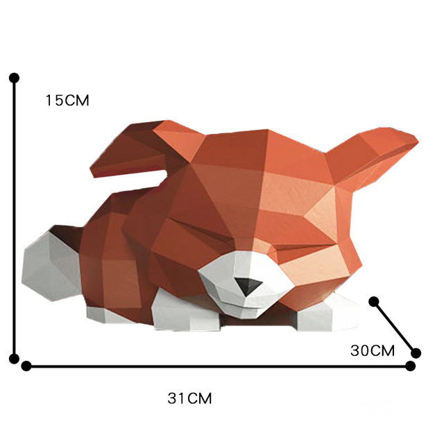 Sad Fox Animal Decor Home Decoration Paper Model Ornaments,Low Poly 3D Papercraft,Handmade DIY Origami Adult Craft Toy RTY210 5