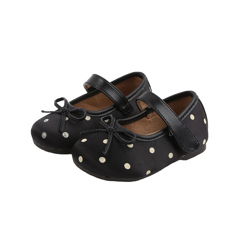 Kids Bsby Girls First Walkers Lovely Leather Single Shoes With Dot Print Flat Casual Shoes 2020 New DesignS X458