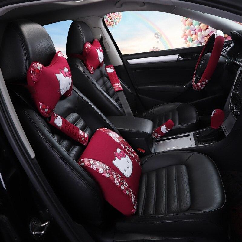 Cartoon Car Headrests Pillows Kitty Cat Lumbar Cushion Seat Belt Universal Auto Steering Wheel Cover Car Accessories For Girls