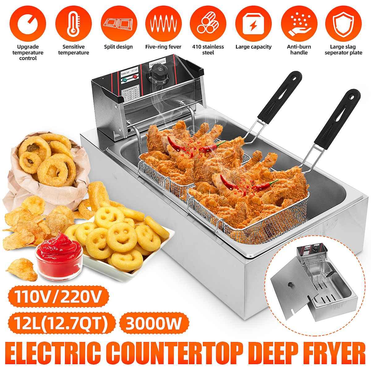 Одиночный резервуар 12L электрическая фритюрница бездымного картофель фри для жарки курицы горшок Регулируемый коммерческий мини для тушеного мяса с печь 110V/220V