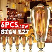 6 шт./кор. ST64 E27 светодиодный 40W светодиоидная лампа с регулируемой яркостью лампы Эдисона античный Винтаж лампа накаливания светильник 2200K ...