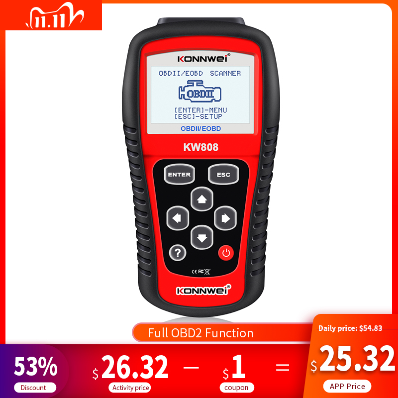OBD2 Scanner KONNWEI KW808 Automotive Diagnostic Tool OBD 2 Auto Scanner Engine Code Reader support CAN J1850