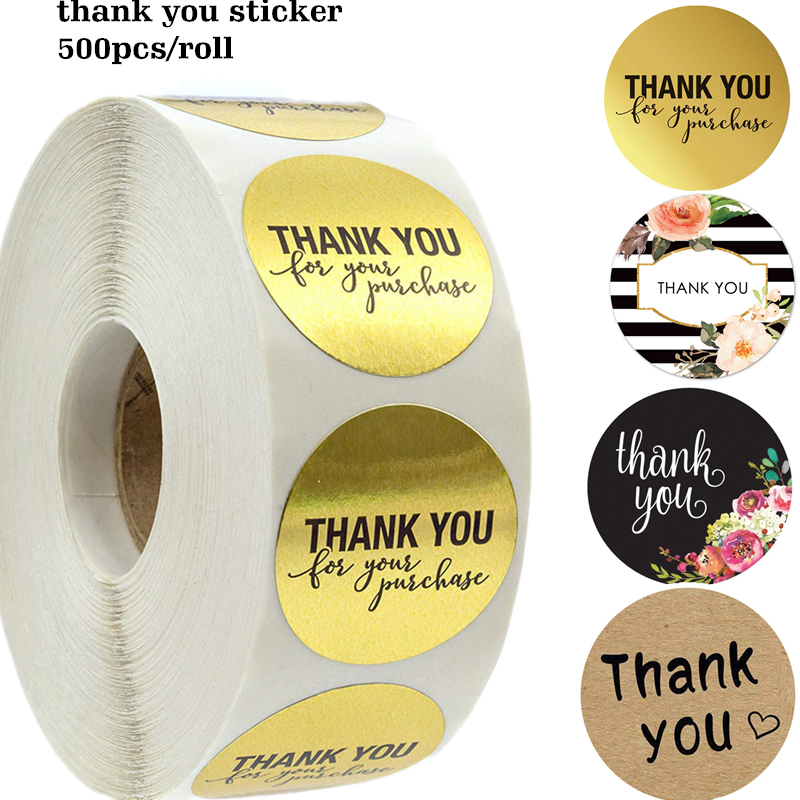 500pcs//roll Thank You Stickers for seal label Sealing decoration Stic G2