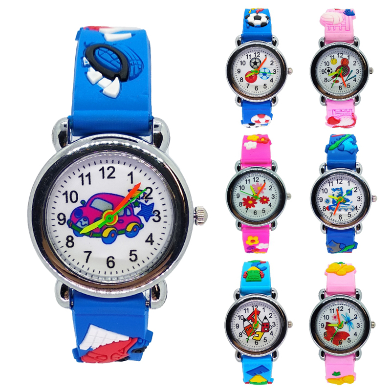 2019 Dropshipping Cartoon Toy Car Child Watch Silicone Strap Quartz Kids Watches Applicable 2-8 Years Boys Girls Gifts Clock
