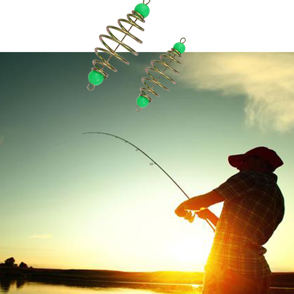 quality Olive Stainless Steel Feeder Hanging Tackle  Spring Lure Fishing Bait