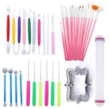 40Pcs Fondant Cake Modeling Tools Set Carving Flower Crafts Clay Modeling Baking Accessories Set Cake Decorating Tools
