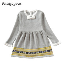 Girls Knitted Dress 2020 Autumn Winter Clothes Lattice Kids