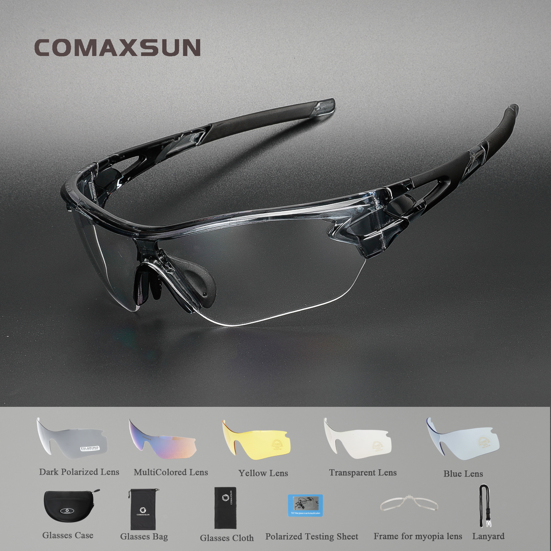 Comaxsun Polarized Sports Men Sunglasses Road Cycling Glasses Mountain Bike Bicycle Riding Protection Goggles Eyewear 5 Len 816