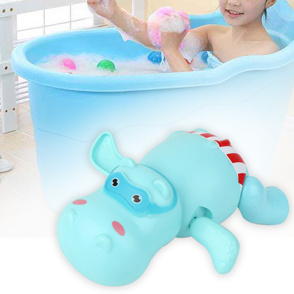 Shower Children Gift Hippopotamus Bear Toddler Boys Girls Kids Bath Toy ABS Clockwork Swimming Pool Baby Basin Cartoon Animal