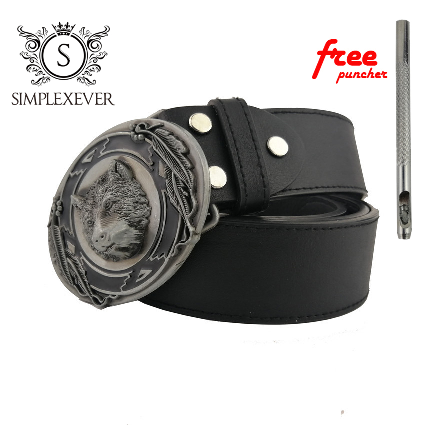 3d Wolf Belt Buckles For Men Cowboy Oval Metal Belt Buckle Head With Leather Belt And Free Puncher