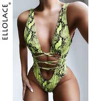 Купальник Ellolace, Бандажное бикини со змеей, женский купальник с отверстиями, купальник, сексуальный купальник 2020, купальник для женщин, пляжн...