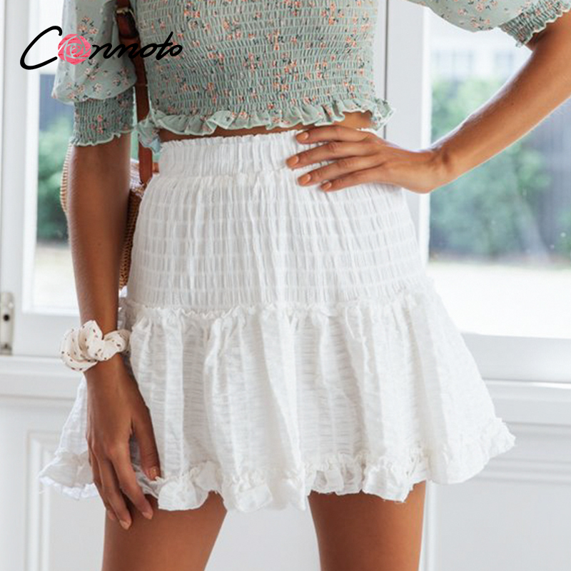 Conmoto High Waist Summer 2020 White Skirts Women Ruffles Chiffon Casual Skirt Elastic Waist Mini Beach Femme Skirts