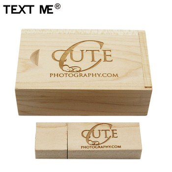 TEXT ME maple wooden+box LOGO engrave usb flash drive 4GB ...